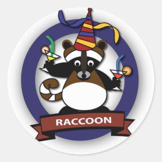 Kids birthday Party: Raccoon Classic Round Sticker