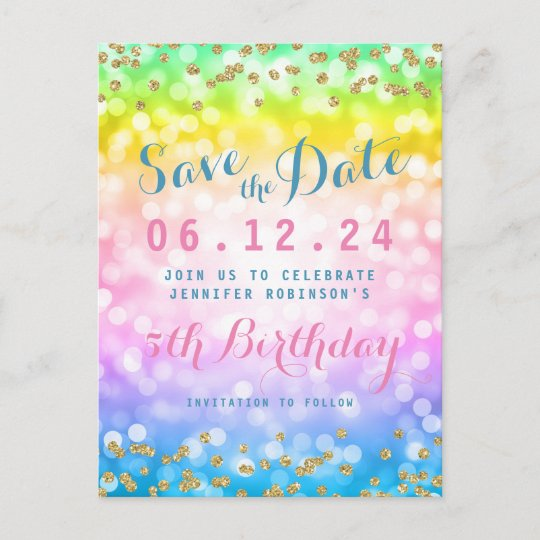 Kids Birthday Party Save The Date Unicorn Rainbow Announcement