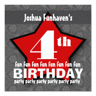 Kids Birthday Party Silver and Red STAR W202 Card