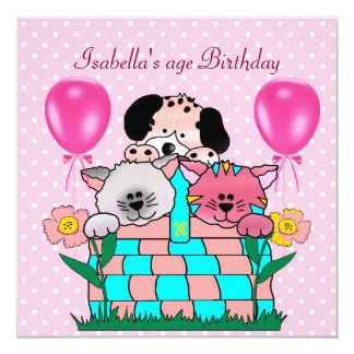 Kid's Birthday Party Spot Cats Dogs friends 2 Personalized Invitation