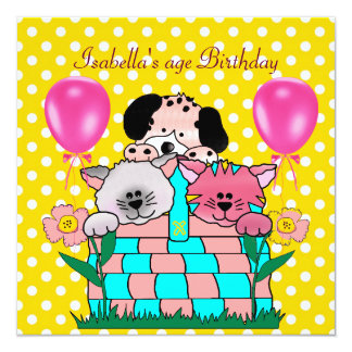 Kid's Birthday Party Spot Cats Dogs friends 3 Personalized Announcement