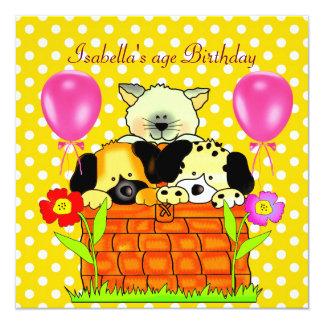 Kid's Birthday Party Spot Cats Dogs friends 4 Custom Invite