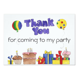 Kids Birthday Party Thank You cards Personalized I