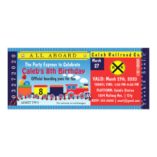 Kids Birthday Party Travel Train Ticket Invitation