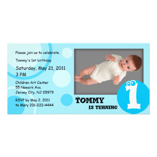 Kids Birthday Photo Card Blue Dots