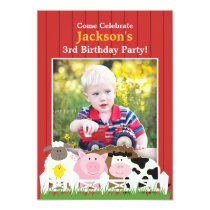 Kids Birthday Photo Farm Flat Invitation