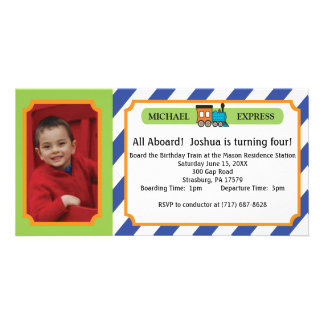 Kids Birthday Photo Train Ticket - Blue Stripes Card