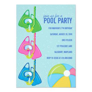 "Kids Birthday Pool Party Invitations 5"" X 7"" Invitation Card"