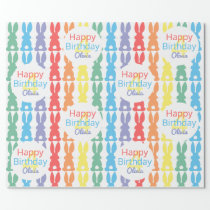 Kids Birthday Rainbow Bunny Pattern Personalized Wrapping Paper