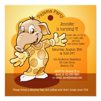 Kids Birthday Slumber or Pajama Party Invitation