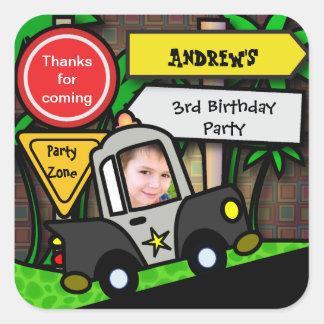 Kids Birthday Sticker Police
