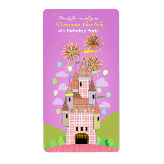 Kids Birthday Thank You Sticker: castle II Personalized Shipping Labels