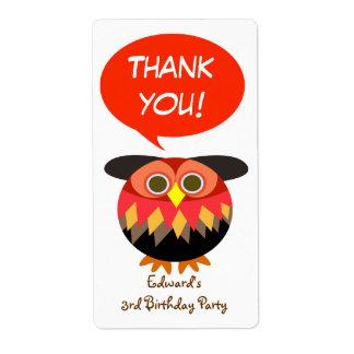 Kids Birthday Thank You Sticker: Owl Custom Shipping Label