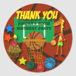 Kids Birthday Thank You Stickers: Basketball