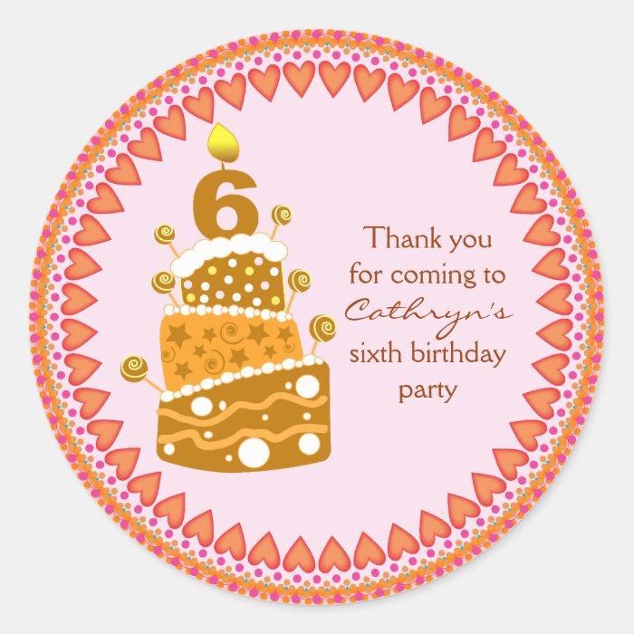 kids Birthday Thank You Stickers: Birthday Cake Classic Round Sticker