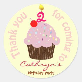 Kids Birthday Thank You Stickers: Cup Cake Classic Round Sticker