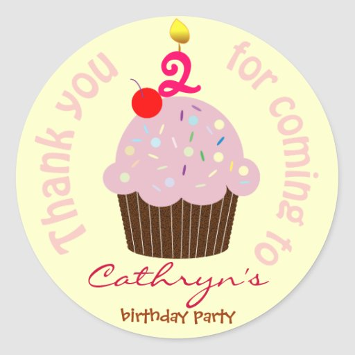 Kids Birthday Thank You Stickers: Cup Cake Classic Round Sticker