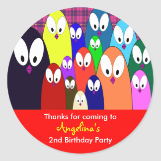 Kids birthday Thank You Stickers: Penguins Classic Round Sticker