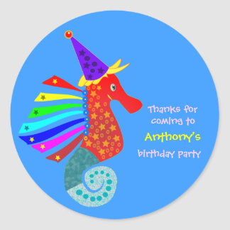 Kids birthday Thank You Stickers: Seahorse