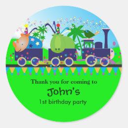 Kids Birthday Thank You Stickers: Train Classic Round Sticker