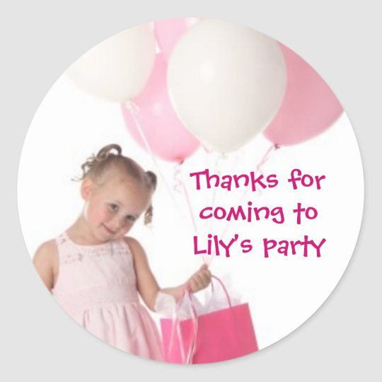 Kids birthday Thank You Stickers: Your Picture Classic Round Sticker