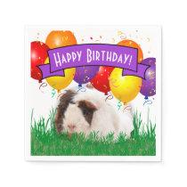 Kids Birthday White Guinea Pig Party Balloons Napkin
