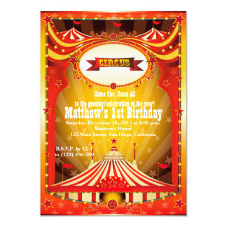 Kids Birthdy Party   Circus Carnival Invitations