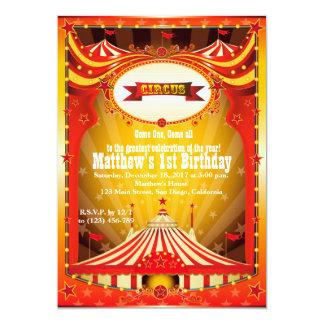 "Kids Birthdy Party | Circus Carnival Invitations 5"" X 7"" Invitation Card"