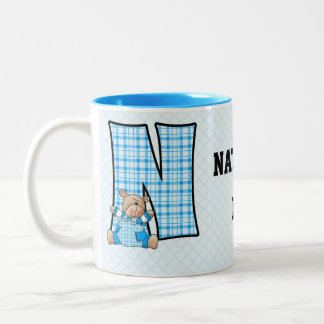 "Kid's Blue Bear Monogram ""N"" Mug"