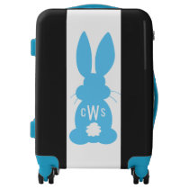 Kids Blue Bunny Silhouette Cute Monogrammed Luggage