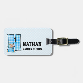 "Kid's Blue Gingham Monogram ""N"" Luggage Tags"