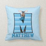 "Kid's Blue Knit Print Moose Monogram ""M"" Pillow"