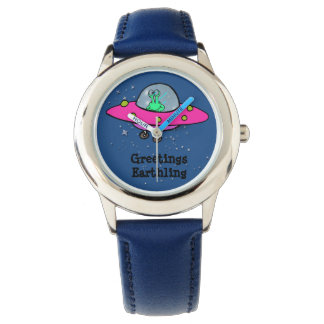 Kid's Blue Leather Watch with Alien Spaceship