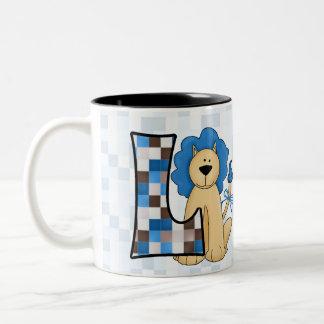 "Kid's Blue Lion Monogram ""L"" Mug"