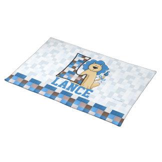 """Kid's Blue Lion Monogram """"L"""" Placemat"""