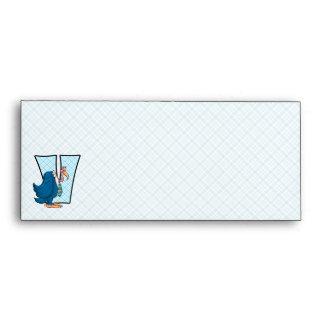 """Kid's Blue Monogram """"V"""" #10 Envelopes"""