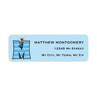 "Kid's Blue Moose Monogram ""M"" Address Labels"