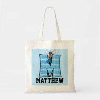 "Kid's Blue Moose Monogram ""M"" Tote Bag"