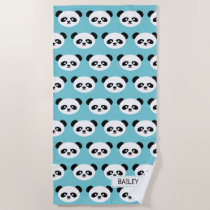 Kids Blue Panda Bear Pattern Kawaii Personalized Beach Towel