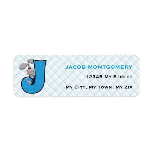 "Kid's Blue Plaid Monogram ""J"" Address Labels"