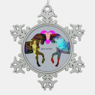 Kids Blue Pony Snowflake Pewter Christmas Ornament