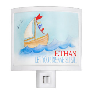 Kids blue sea wooden sail boat name night light
