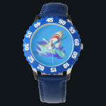 """Kids Blue Shark Watch<br><div class=""""desc"""">Kid&#39;s Adjustable Bezel Stainless Steel features a cool custom shark design! Credit: Public Domain Make time telling fun with the kid's a personalized bezel stainless steel watch from eWatchFactory. Customized with their favorite characters, animals, designs, and name, this stainless steel watch with adjustable bezel will be the only thing they'll...</div>"""
