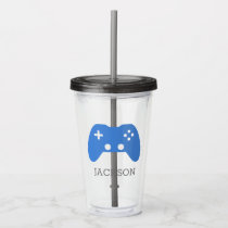 Kids Blue Video Game Controller Gamer Personalized Acrylic Tumbler