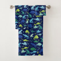 Kids Blue Watercolor Dinosaur Pattern Boys Bath Towel Set