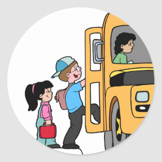 Kids Boarding School Bus Classic Round Sticker