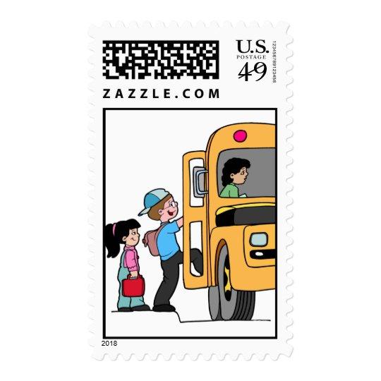 Kids Boarding School Bus Postage