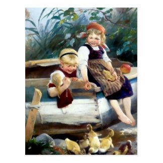 Kids boat and ducks postcards