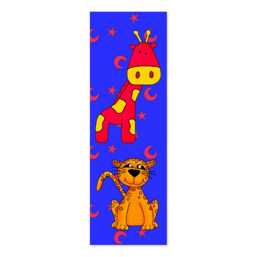 Kid's Bookmark Cheetah Giraffe Double-Sided Mini Business Cards (Pack Of 20)