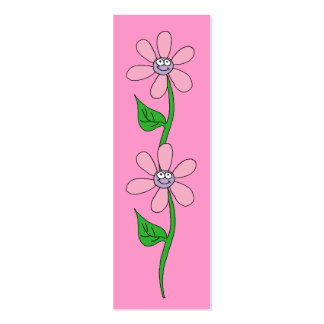 Kid's Bookmark Girls Pink Flowers Mini Business Card